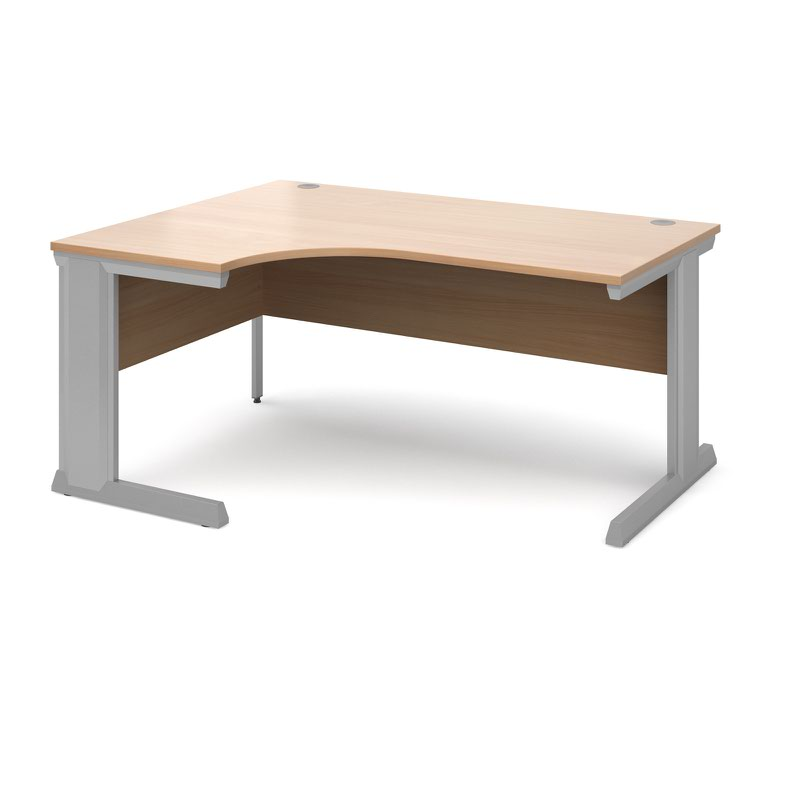 Compare prices for Vivo Left Hand Ergonomic Desk 1600mm - Silver Frame Beech Top