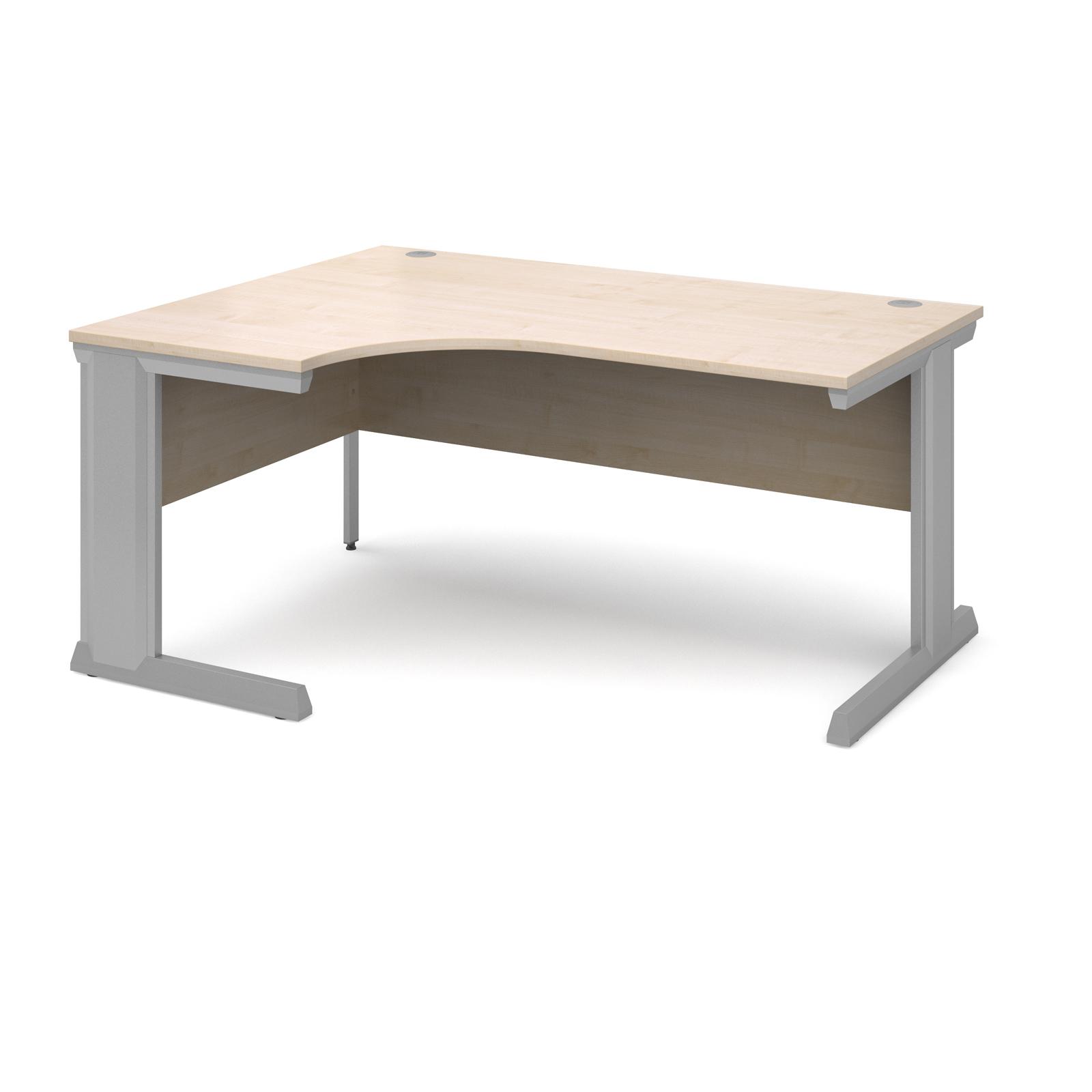 Compare prices for Vivo Left Hand Ergonomic Desk 1600mm - Silver Frame Maple Top