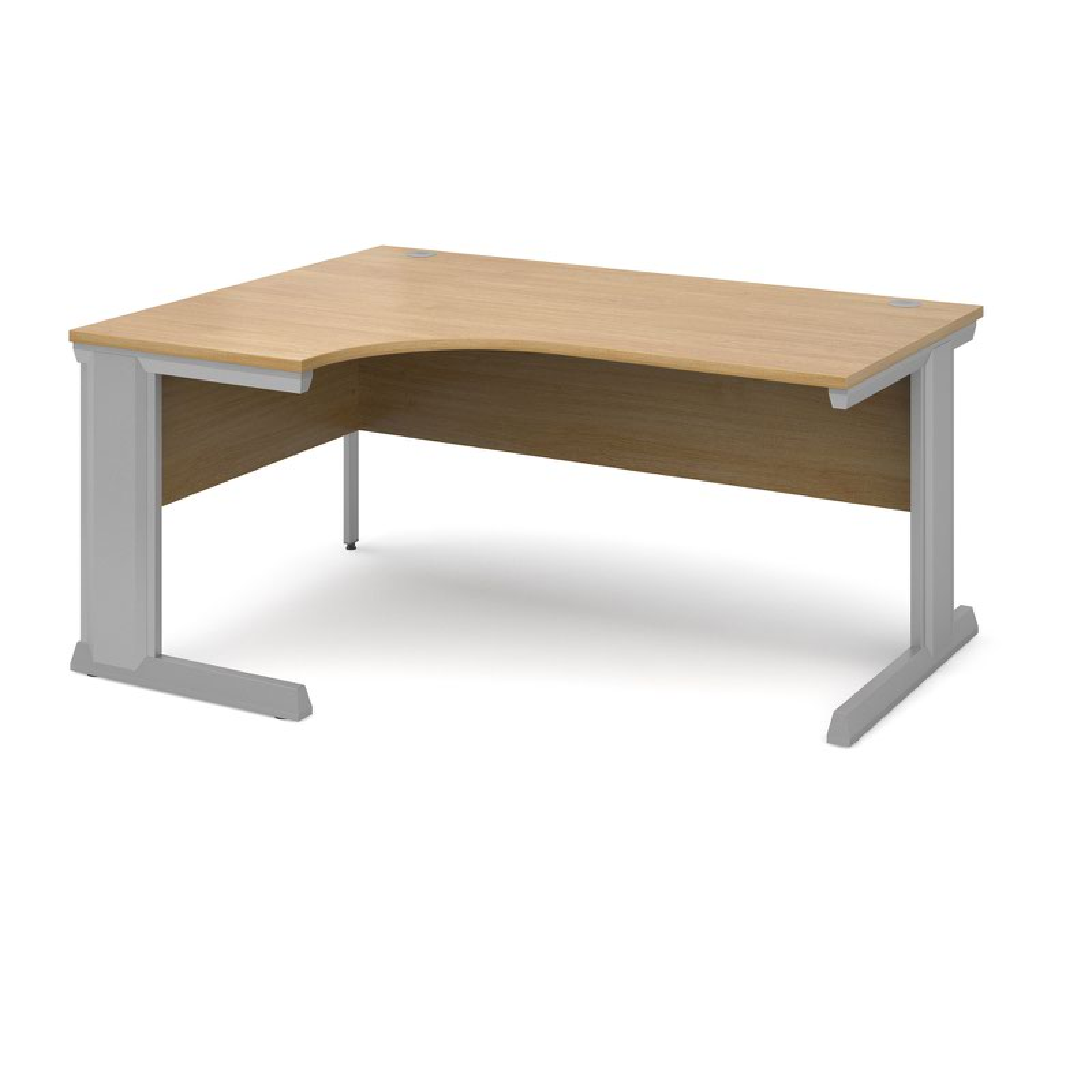 Compare prices for Vivo Left Hand Ergonomic Desk 1600mm - Silver Frame Oak Top
