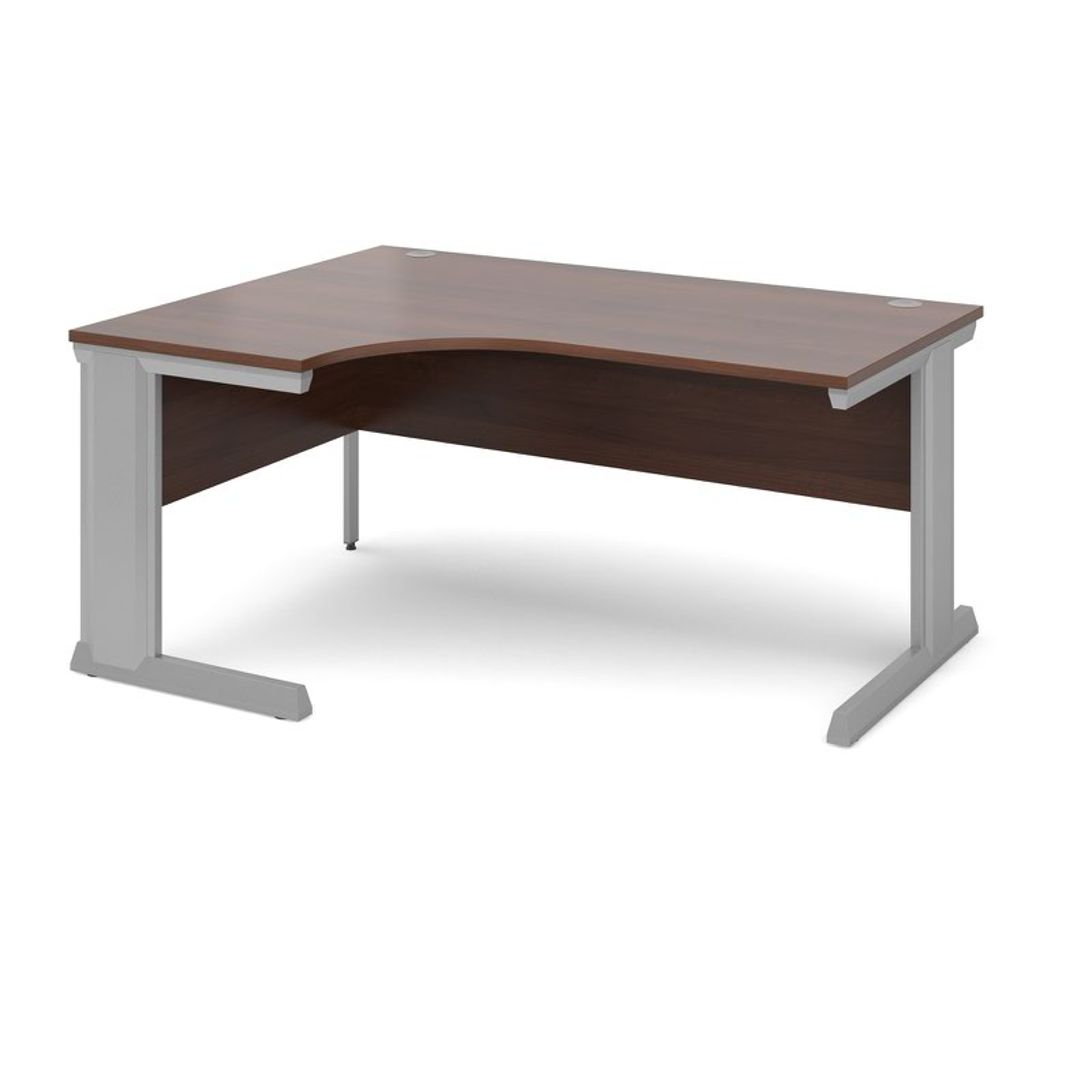 Compare prices for Vivo Left Hand Ergonomic Desk 1600mm - Silver Frame Walnut Top