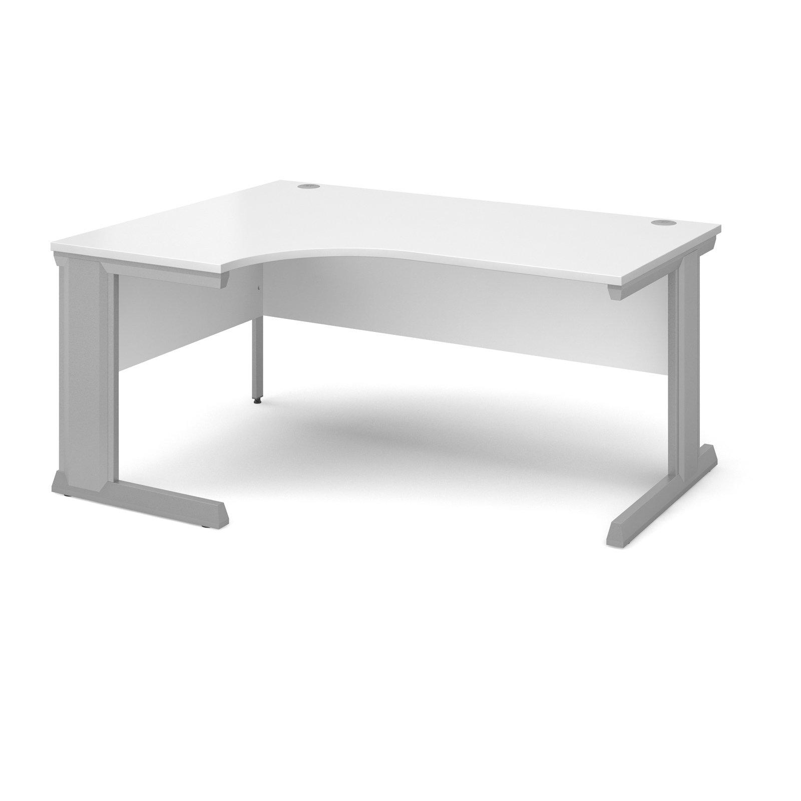 Compare prices for Vivo Left Hand Ergonomic Desk 1600mm - Silver Frame White Top