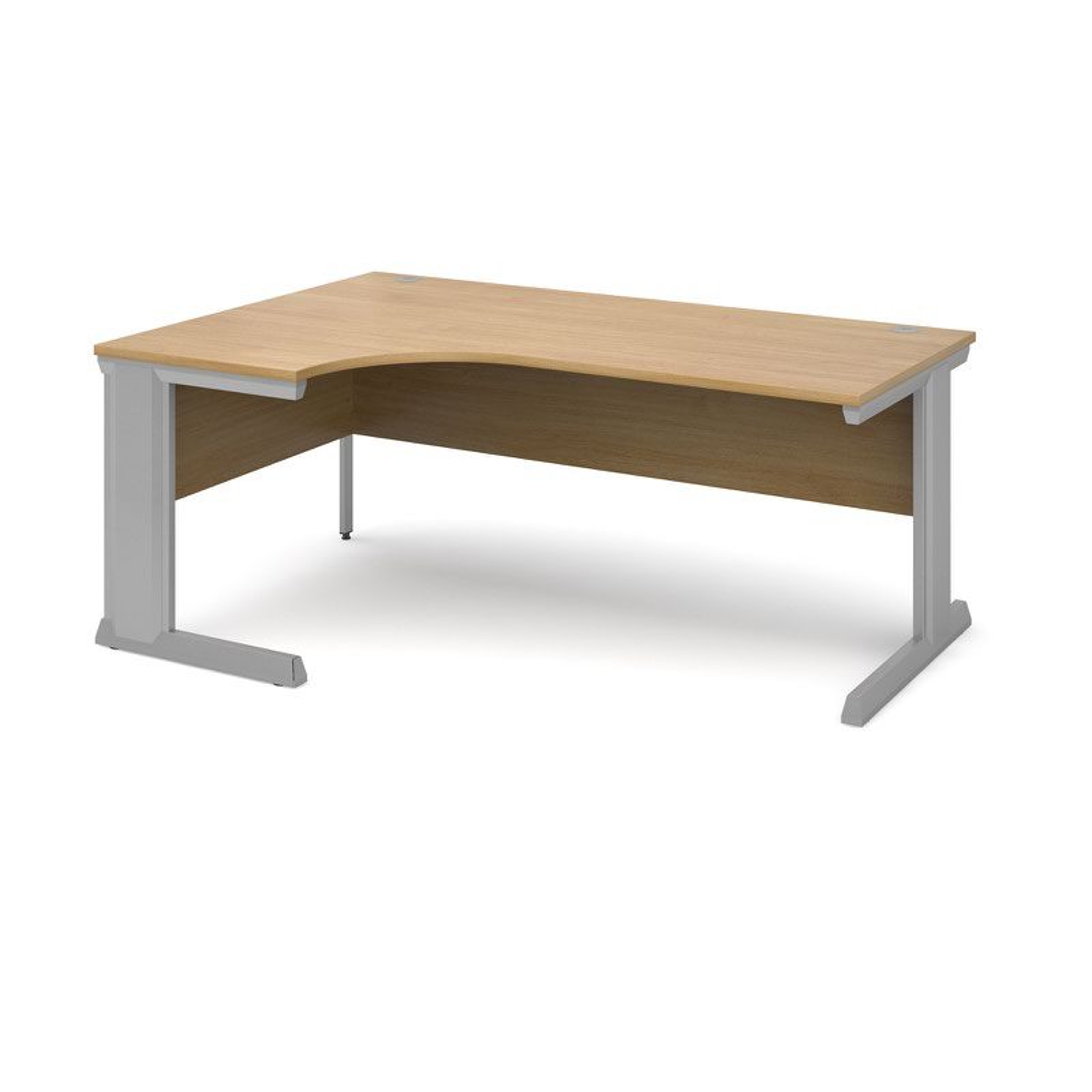 Compare prices for Vivo Left Hand Ergonomic Desk 1800mm - Silver Frame Oak Top
