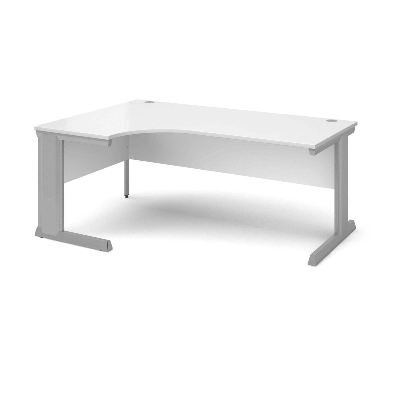 Compare prices for Vivo Left Hand Ergonomic Desk 1800mm - Silver Frame White Top