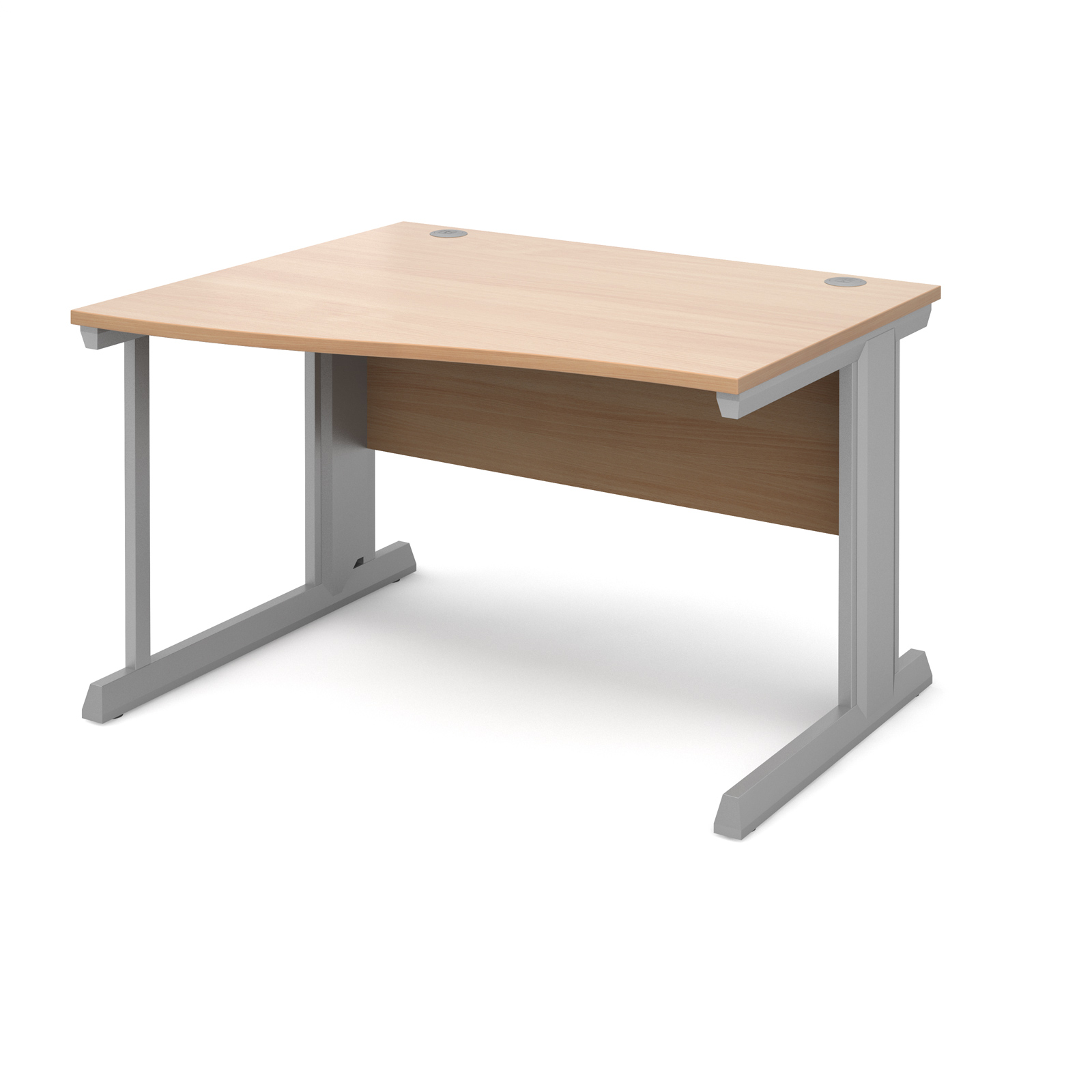 Compare prices for Vivo Left Hand Wave Desk 1200mm - Silver Frame Beech Top