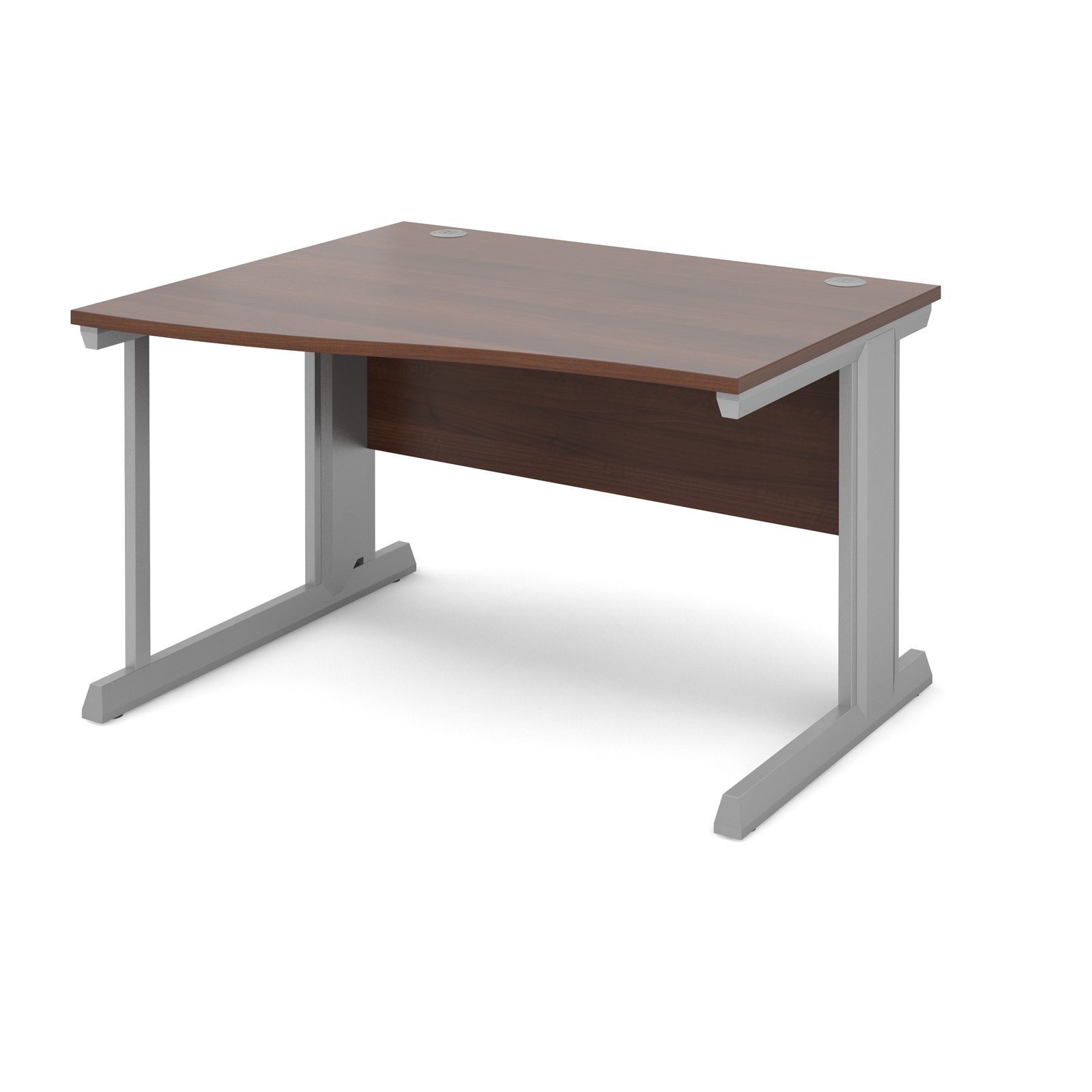 Compare prices for Vivo Left Hand Wave Desk 1200mm - Silver Frame Walnut Top