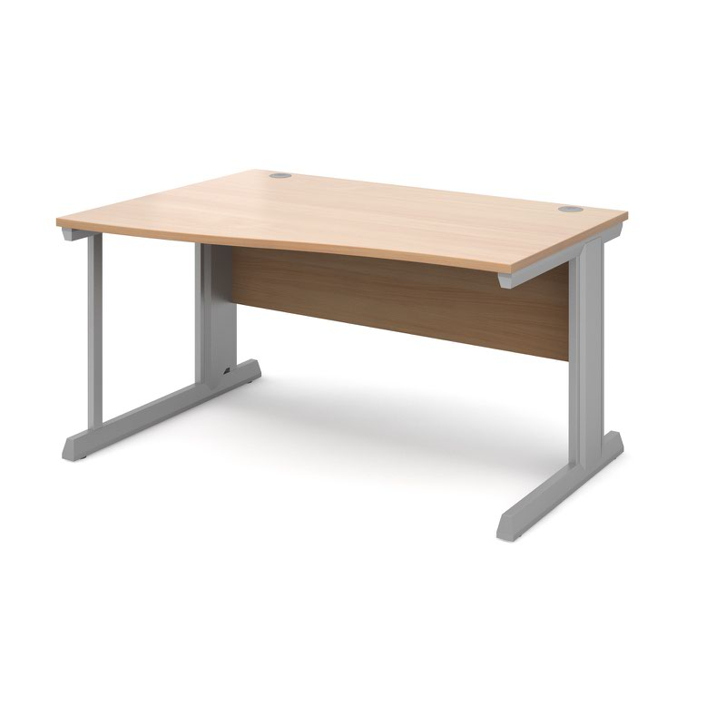 Compare prices for Vivo Left Hand Wave Desk 1400mm - Silver Frame Beech Top