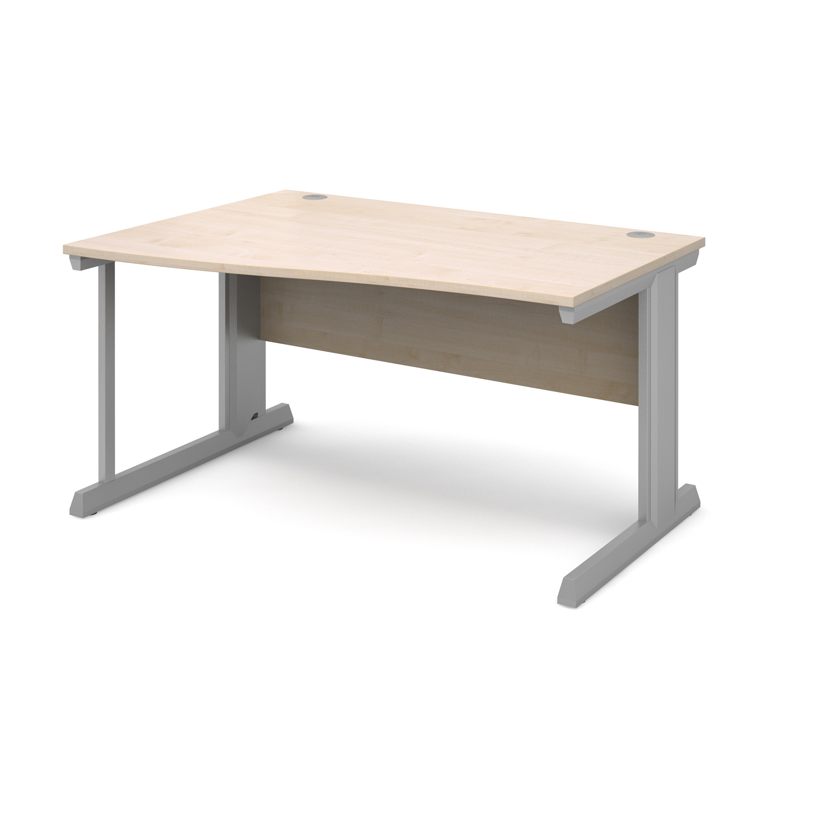 Compare prices for Vivo Left Hand Wave Desk 1400mm - Silver Frame Maple Top