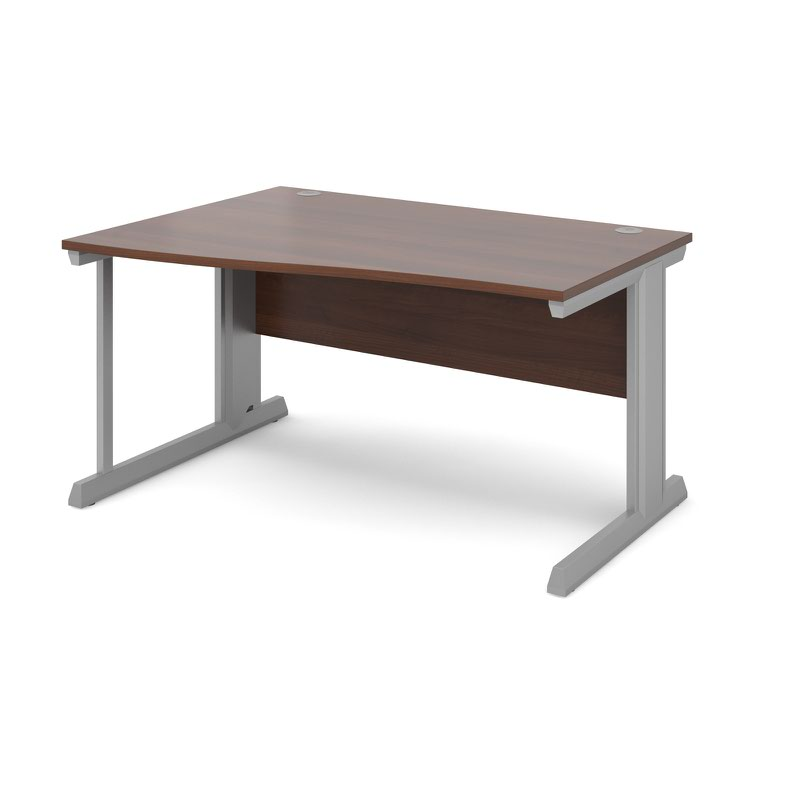 Compare prices for Vivo Left Hand Wave Desk 1400mm - Silver Frame Walnut Top