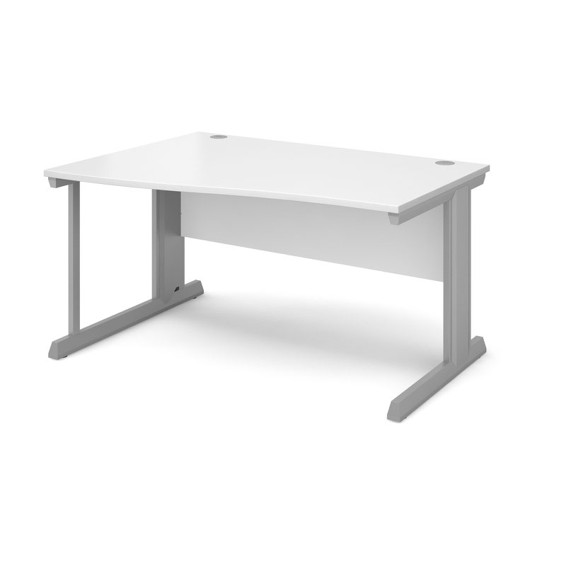 Compare prices for Vivo Left Hand Wave Desk 1400mm - Silver Frame White Top
