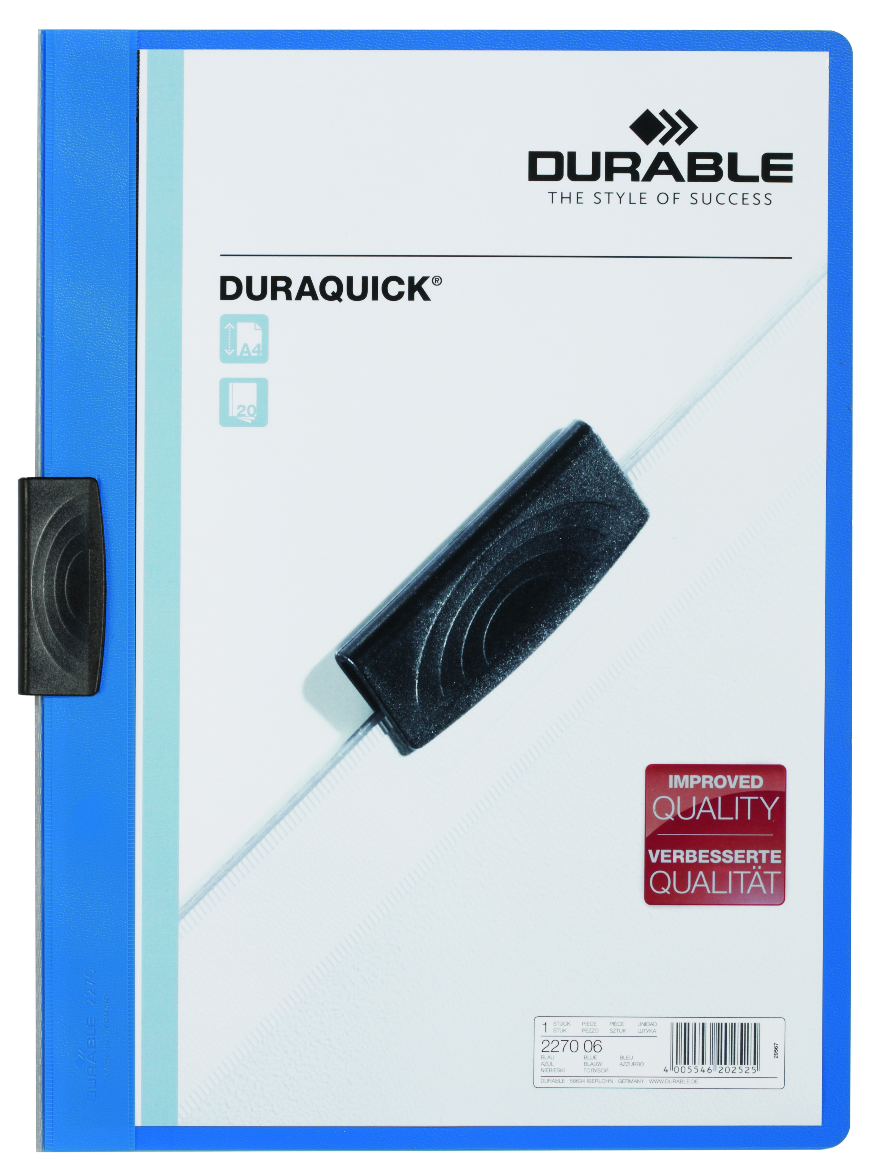 Durable Duraquick A4 Blue File Pack Of 20 2270 06