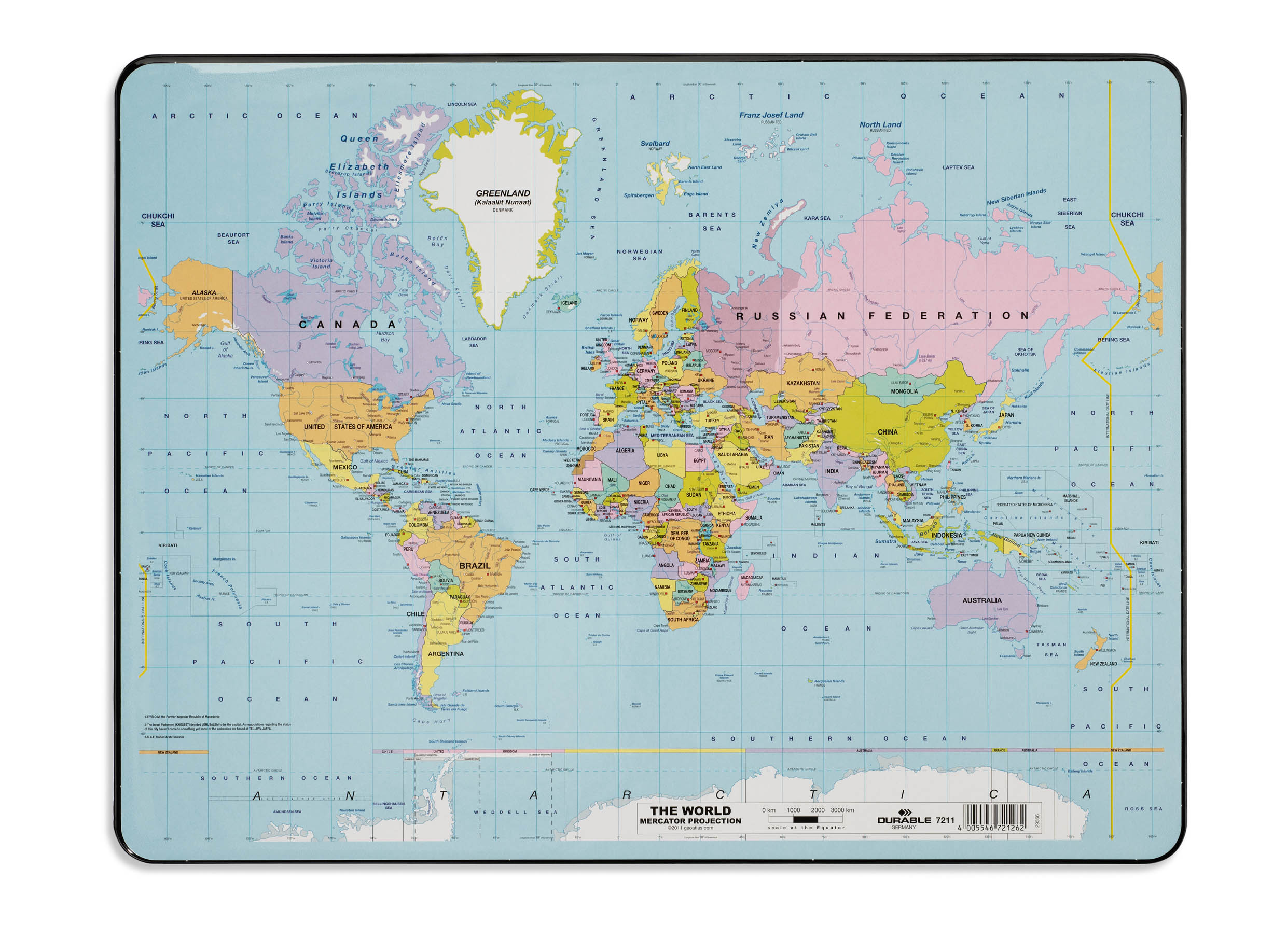 Durable World Map Desk Mat Pvc Non Slip Base W530xd400mm Ref 7211 19