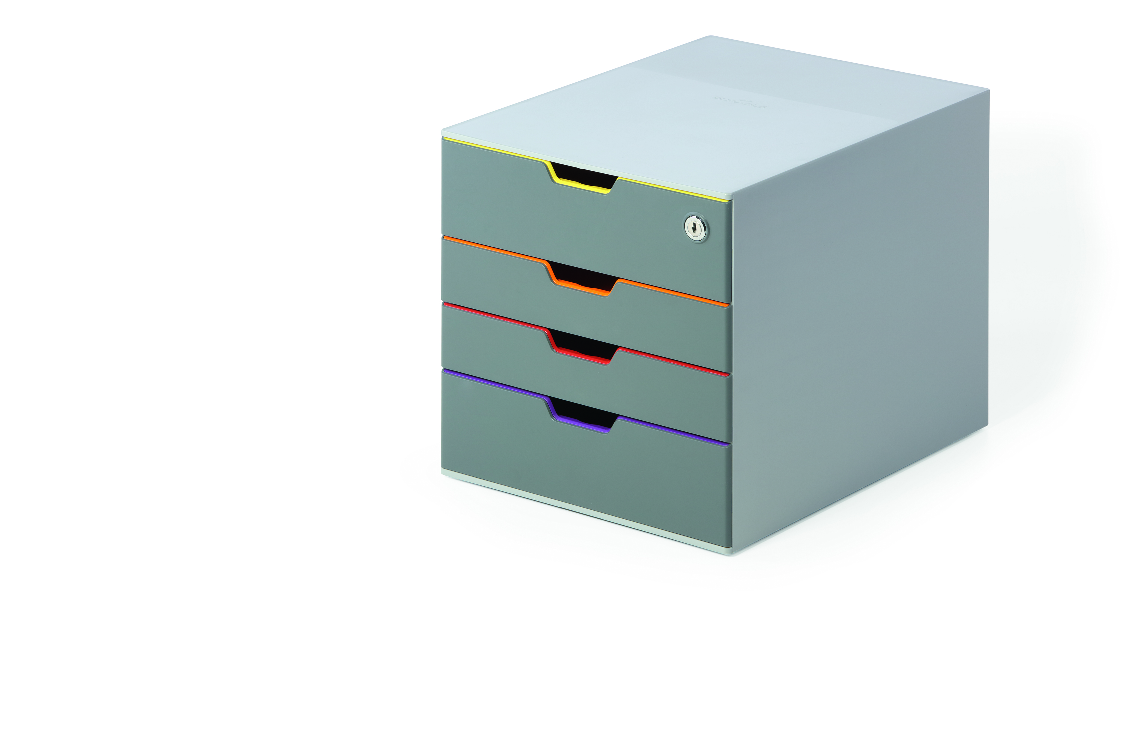 Durable Varicolor Safe 4 Drawer Box with Lockable Top Drawer Grey ...