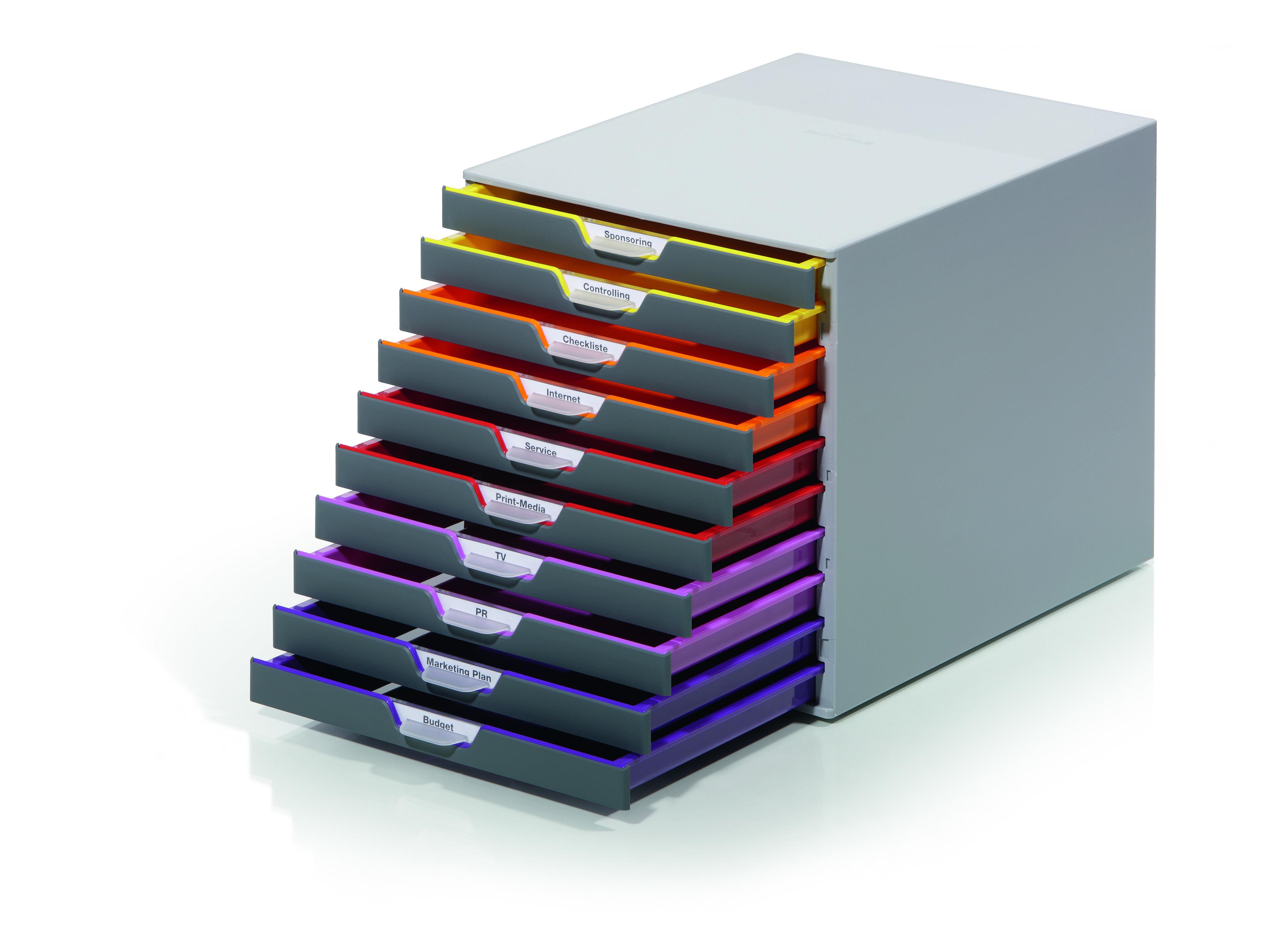 Durable Varicolor Plastic Desktop Drawer Set Stackable 10 Drawers A4 Ref 761027