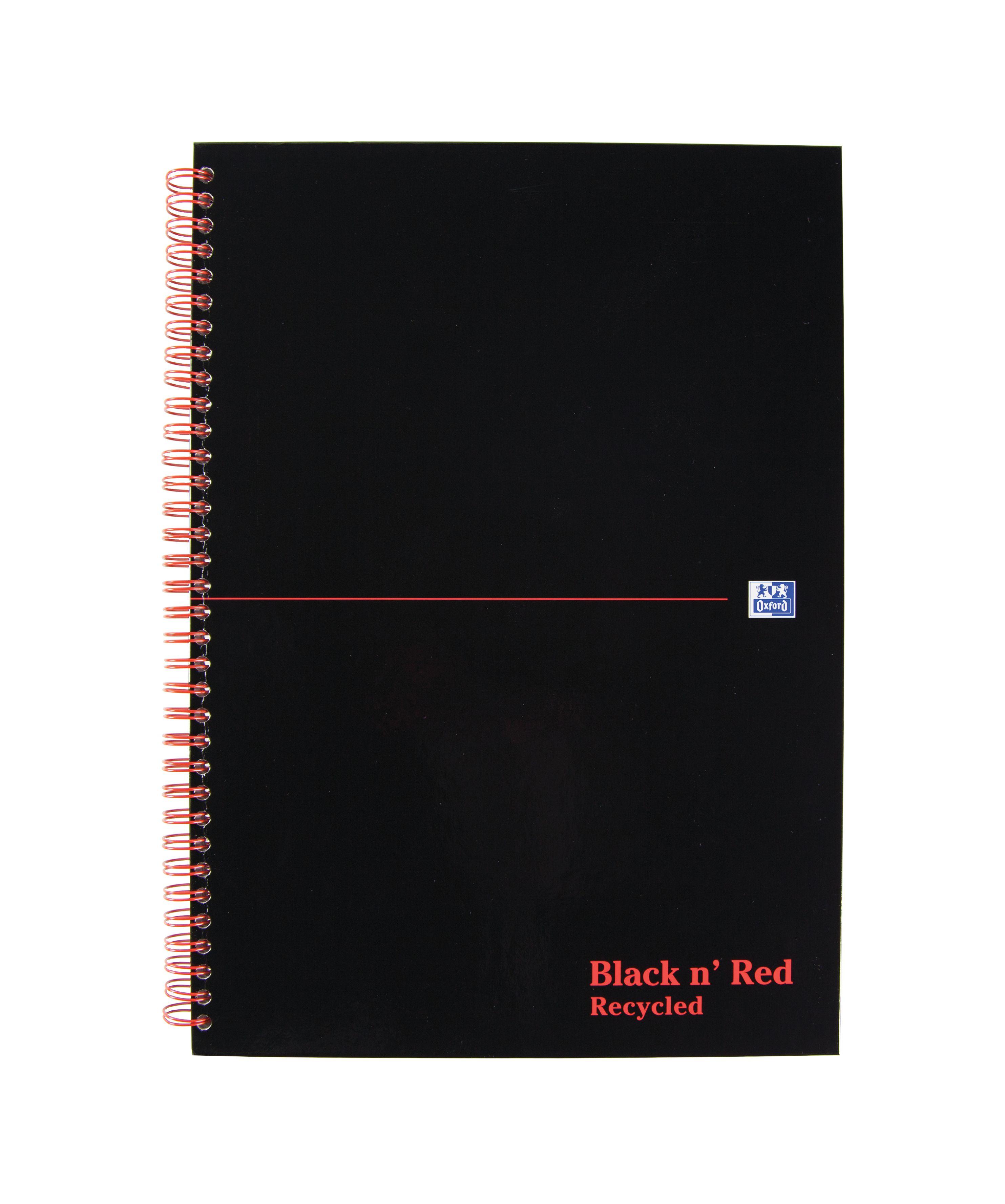 Note Book Black n/' Red Casebound Hardback A4 Note Book