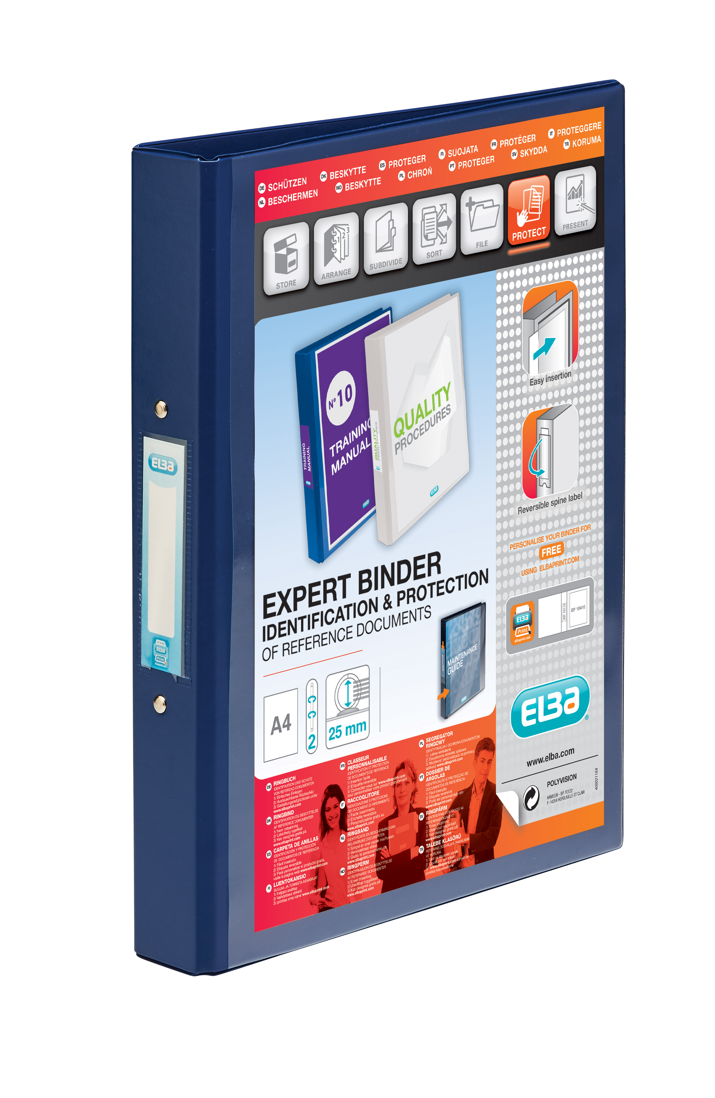 Etonnant Elba Vision Blue A4 2 Ring Binder 100080886