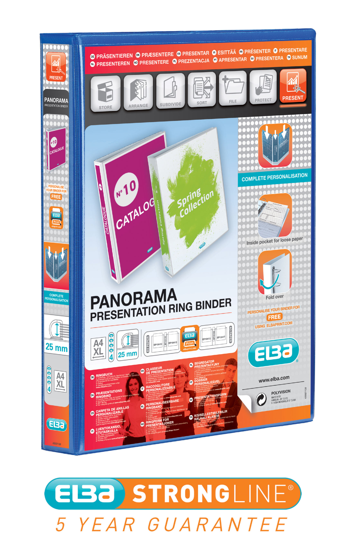Elba Panorama Presentation Binder 40mm 4D Ring A4 Pack of 6