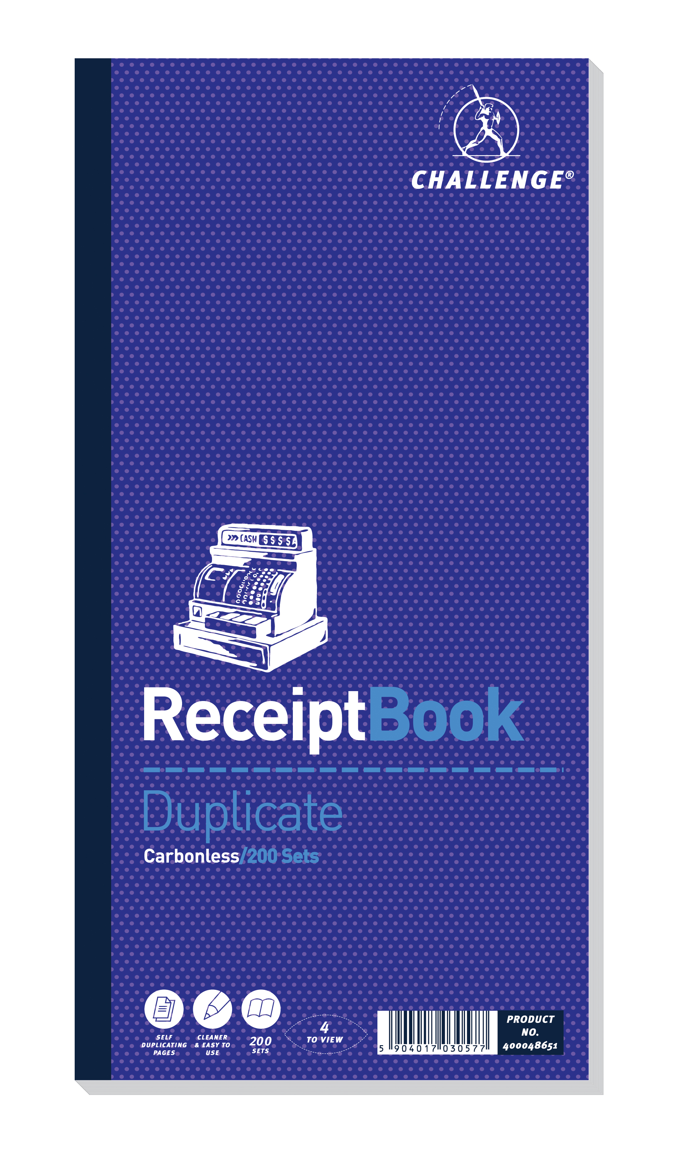 Challenge Duplicate Book Carbonless Receipt 4 Sets Per Page 200 280x141mm Ref 400048651