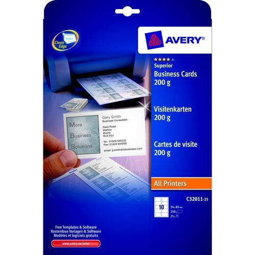 Avery business cards laser pack 25 norwich office supplies avery business cards laser pack 25 reheart Images