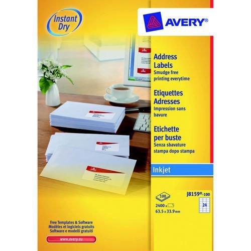 Avery Inkjet Address Labels 24 Per Page 635x381mm White 100 Sheets