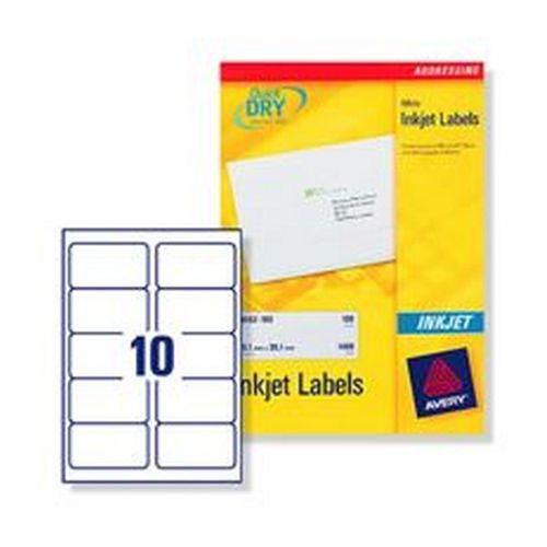 avery inkjet address labels 10 per page white 100 sheets