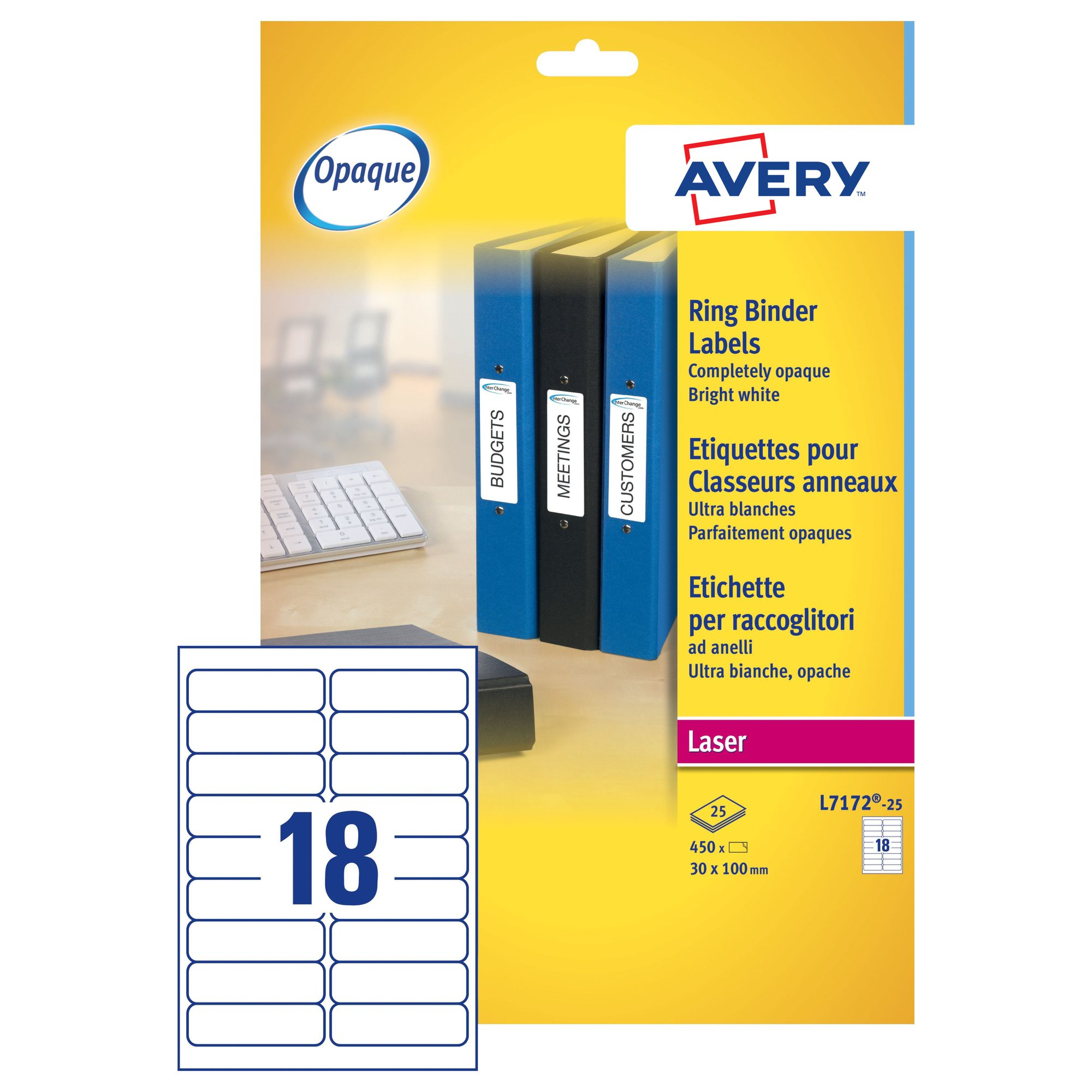 avery laser ring binder labels 100x30mm white 25 l7172 25