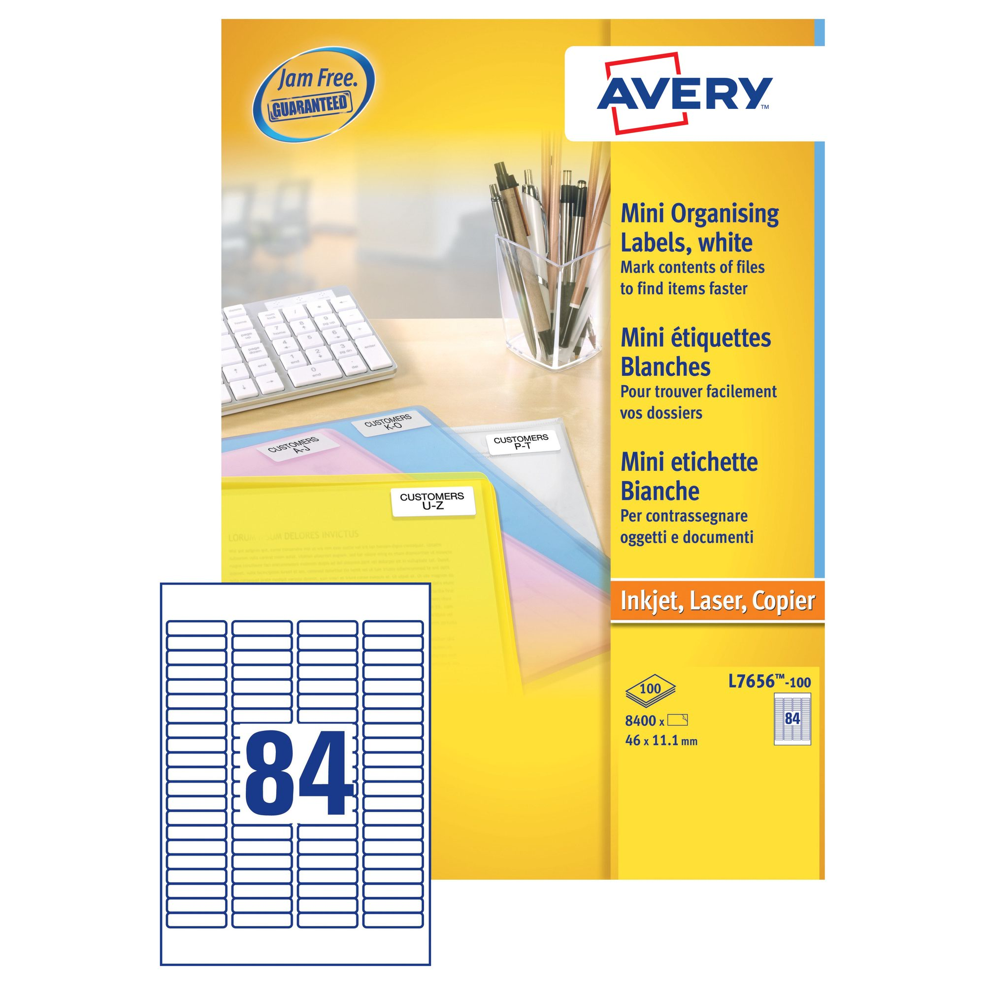 Avery Quickpeel Mini Laser Labels 46x111mm White 100 L7656 100