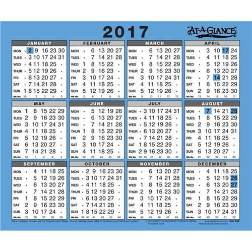 Office Calendars 2017 : At a glance wall calendar ref office