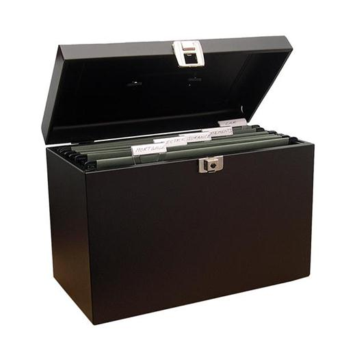 file box with 5 suspension files and 2 keys steel a4 black. Black Bedroom Furniture Sets. Home Design Ideas