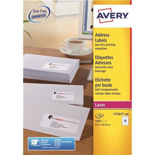 Avery Addressing Labels Laser Jam Free 18 Per Sheet 635x466mm