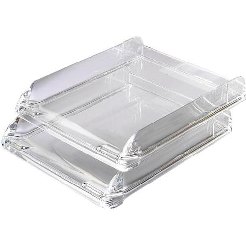 rexel nimbus letter tray self stacking acrylic clear ref 2101504