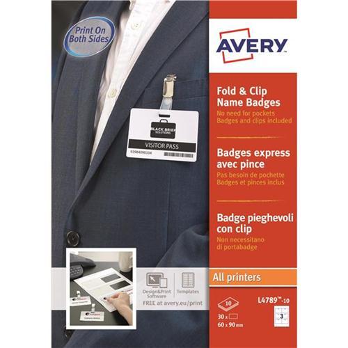 avery fold clip name badges 3 per sheet 60x90mm white ref l4789 10