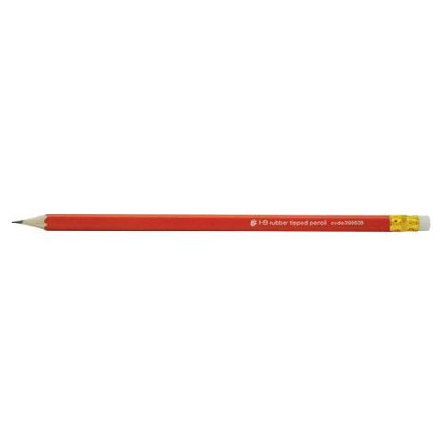 5 Star Office Pencil With Eraser Hb Red Barrel Pack 12