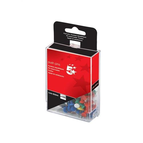 5 Star Office Push Pins Assorted Opaque [Pack 100]