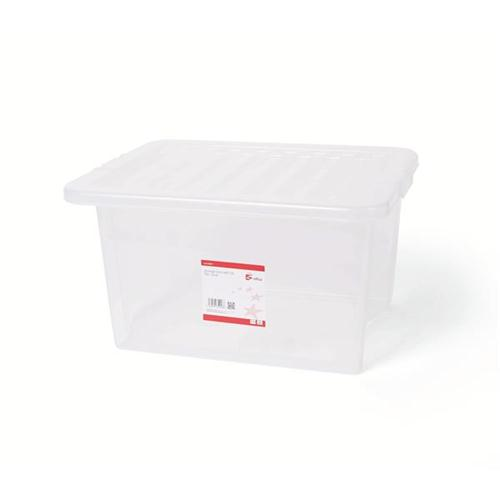 5 Star Office Storage Box Plastic with Lid Stackable 35 Litre Clear