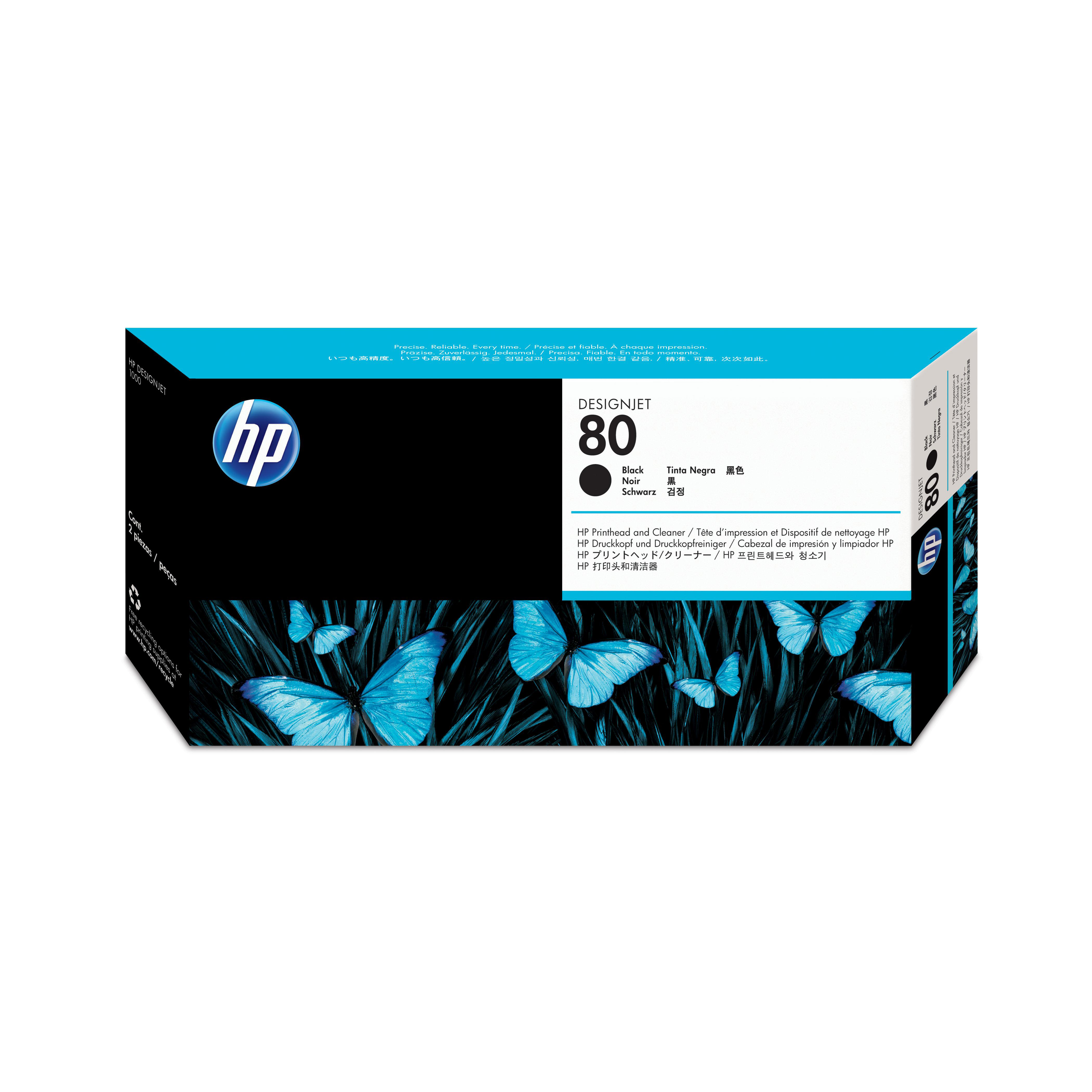 Hewlett Packard Hp No 80 Inkjet Printhead And Cleaner 17ml Black Ref C4820a