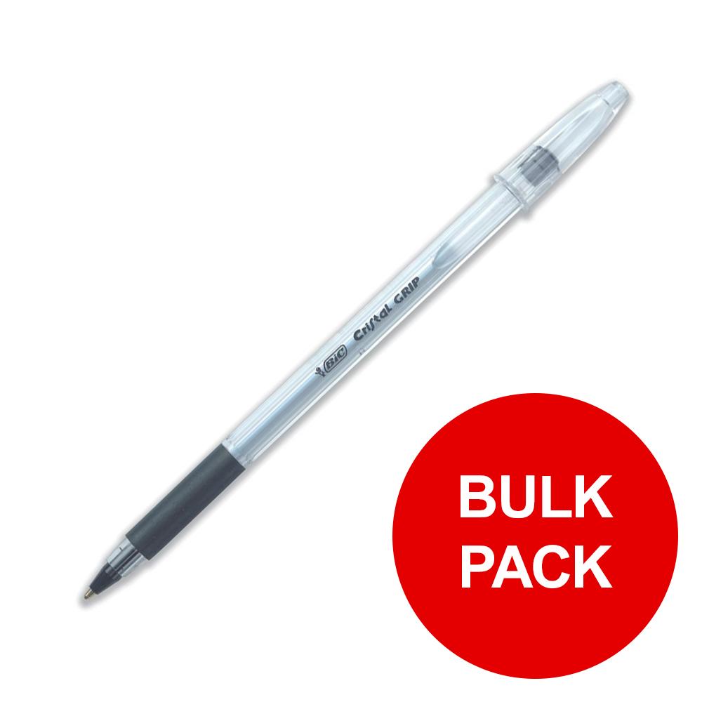 bic cristal grip ball pen clear barrel black ref 802800 pack 100 bulk pack jan dec 2019. Black Bedroom Furniture Sets. Home Design Ideas