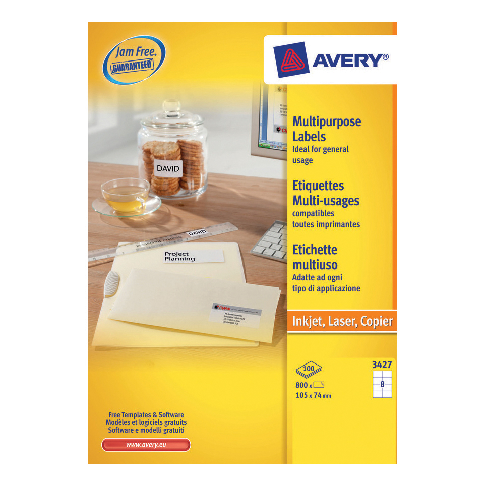 avery multipurpose labels laser copier inkjet 8 per sheet 105x74mm