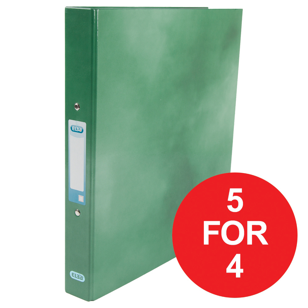 Elba Ring Binder Laminated Gloss Finish 2 O 25mm A4 Plus Green Ref 400017756 5 For 4 Jan Dec 2018