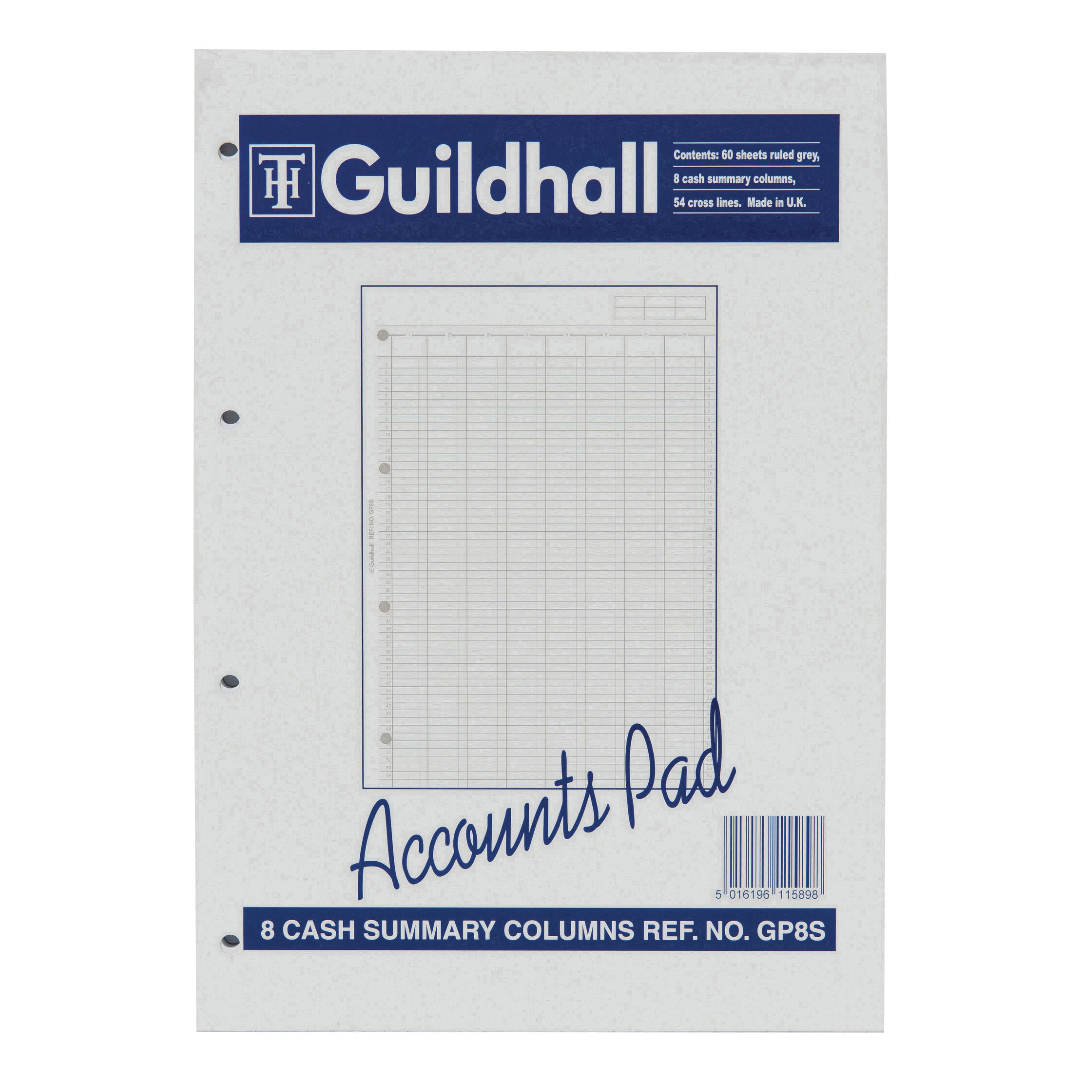 guildhall account pad 8 cash column and summary punched 4 holes 60