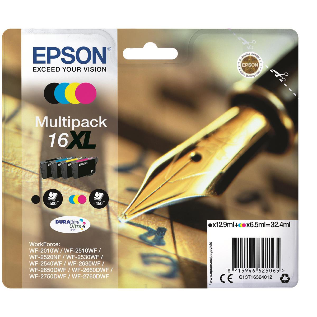 Epson 16xl Inkjetcart Pen Crossword Hy Page Life 500pp Black 450pp C M Y 32 4ml Ref C13t16364012 Pack 4