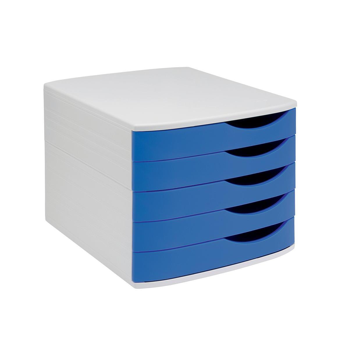 5 Star Elite Desktop Drawer Set Drawers A4 And Foolscap Grey Blue