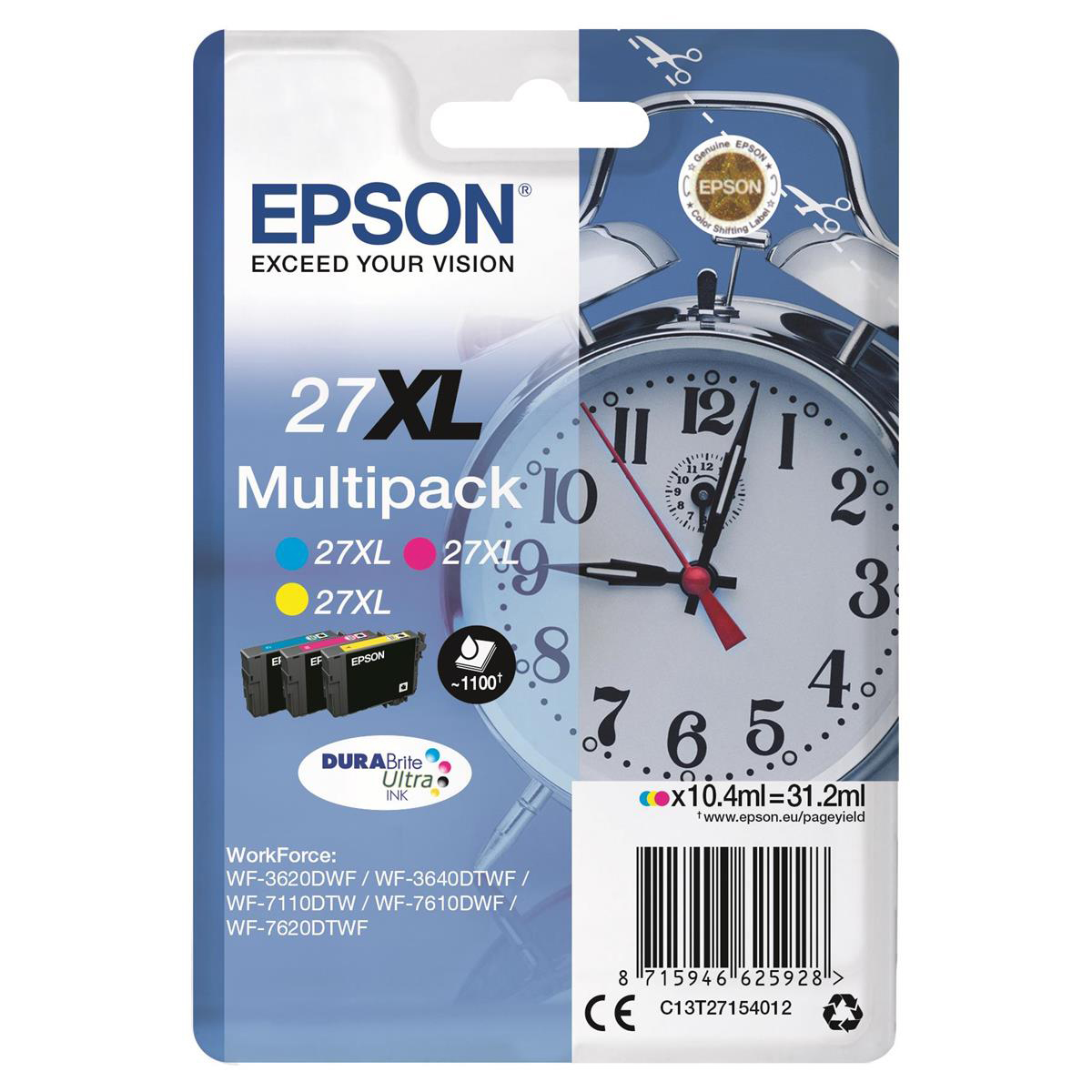 Epson 27xl Inkjet Cart Alarm Clock High Yield Page Life 1100pp 10 4ml C M Y Ref C13t27154012 Pack 3