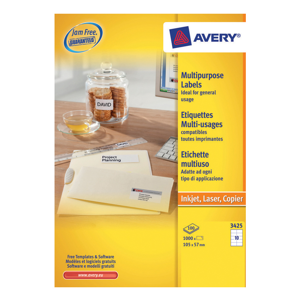 avery multipurpose labels laser copier inkjet 10 per sheet 105x57mm