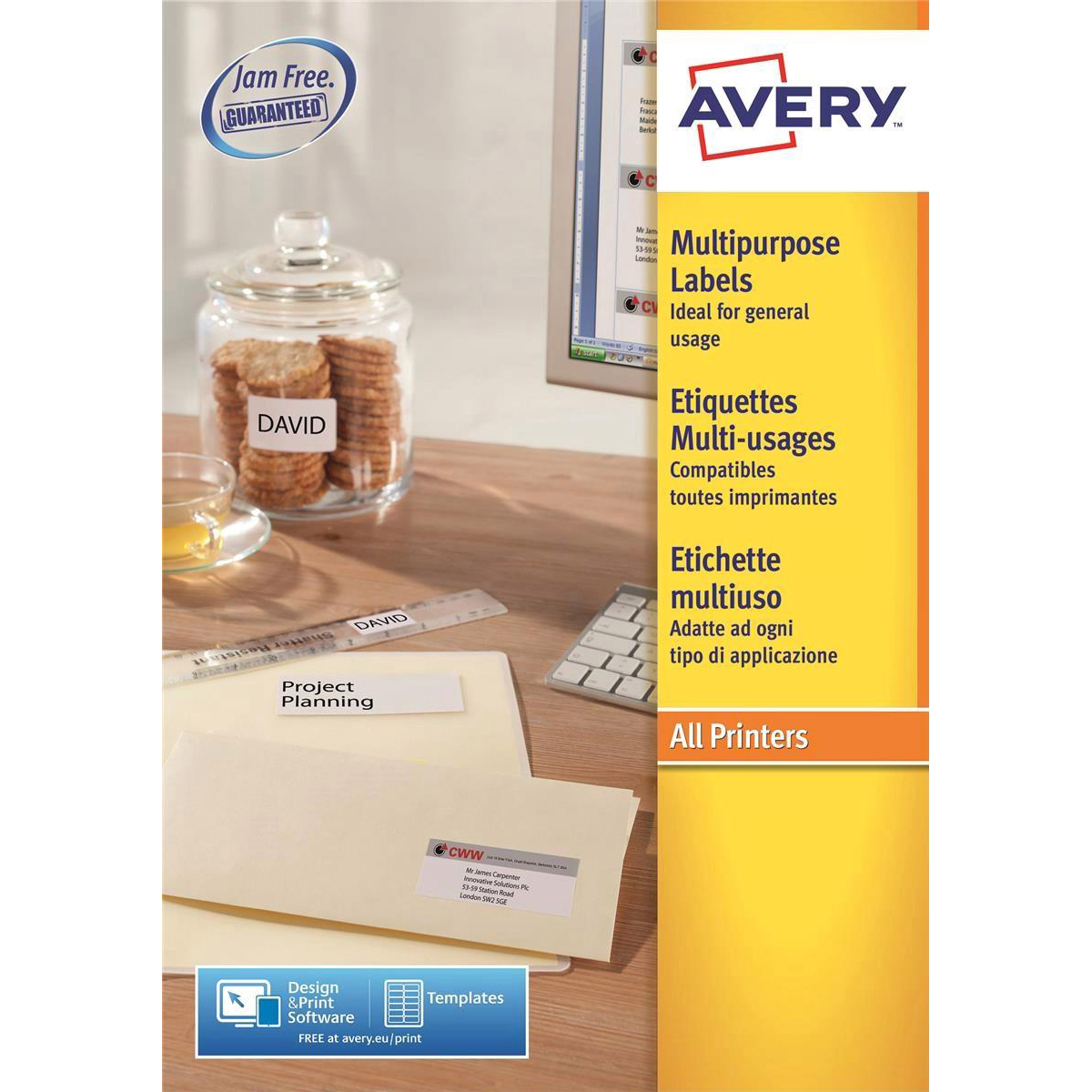 avery multipurpose labels laser copier inkjet 30 per sheet 70x29 7mm