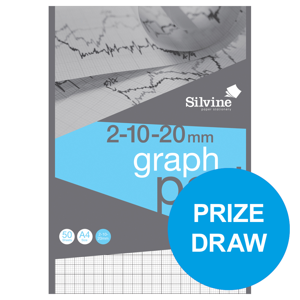 silvine student graph pad 90gsm 2mm 10mm 20mm grid 50 sheets a4 ref