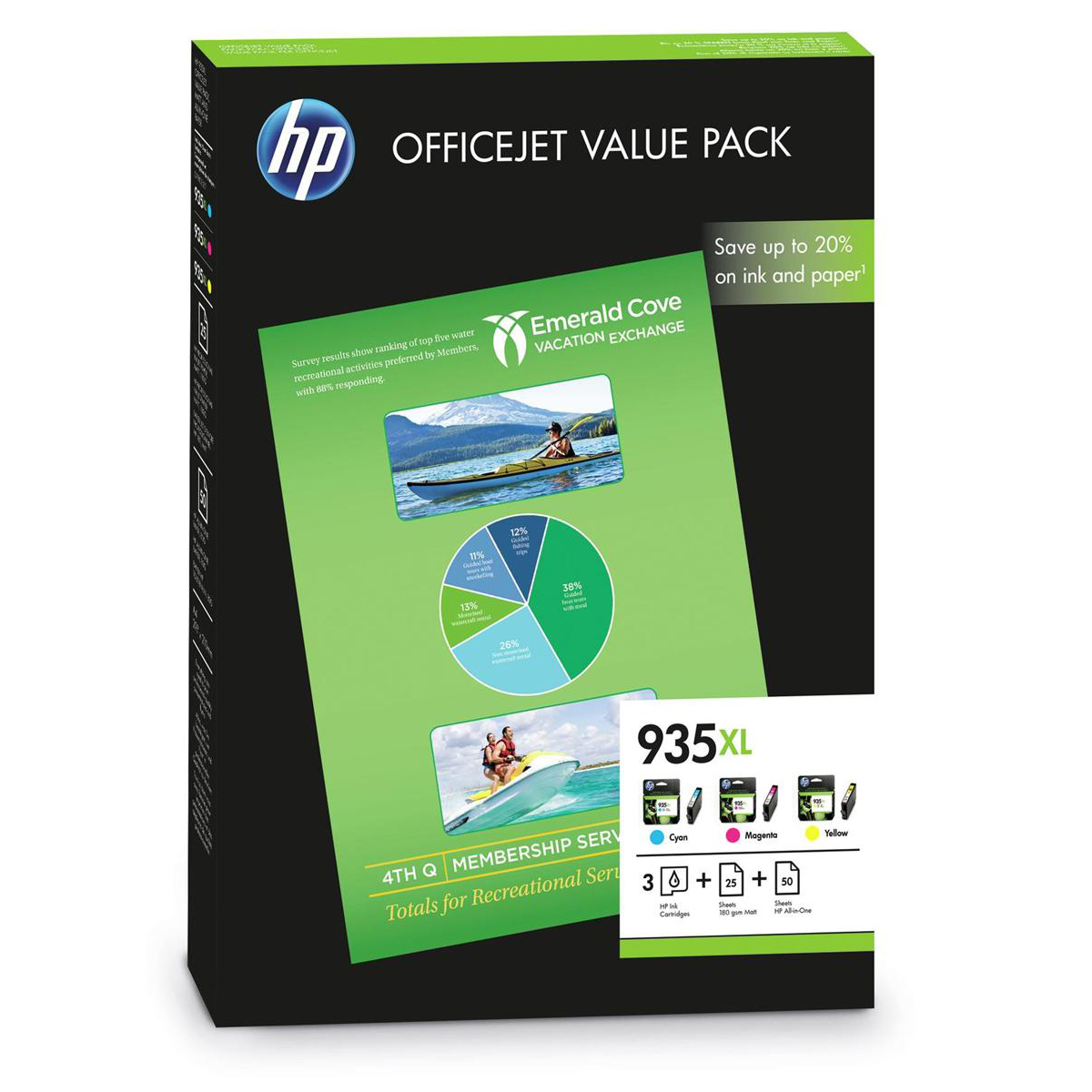 Hp No 935xl Ink Cartridge Officejet Value Pack C M Y Plus A4 Paper Ref F6u78ae