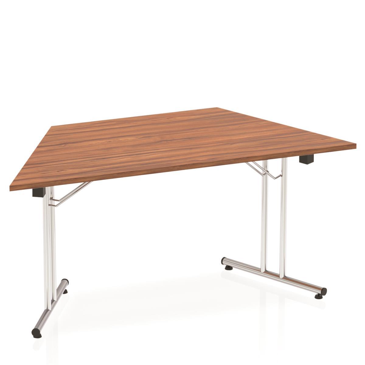 Sonix Trapezoidal Chrome Leg Folding Meeting Table 1600x800mm Walnut ...