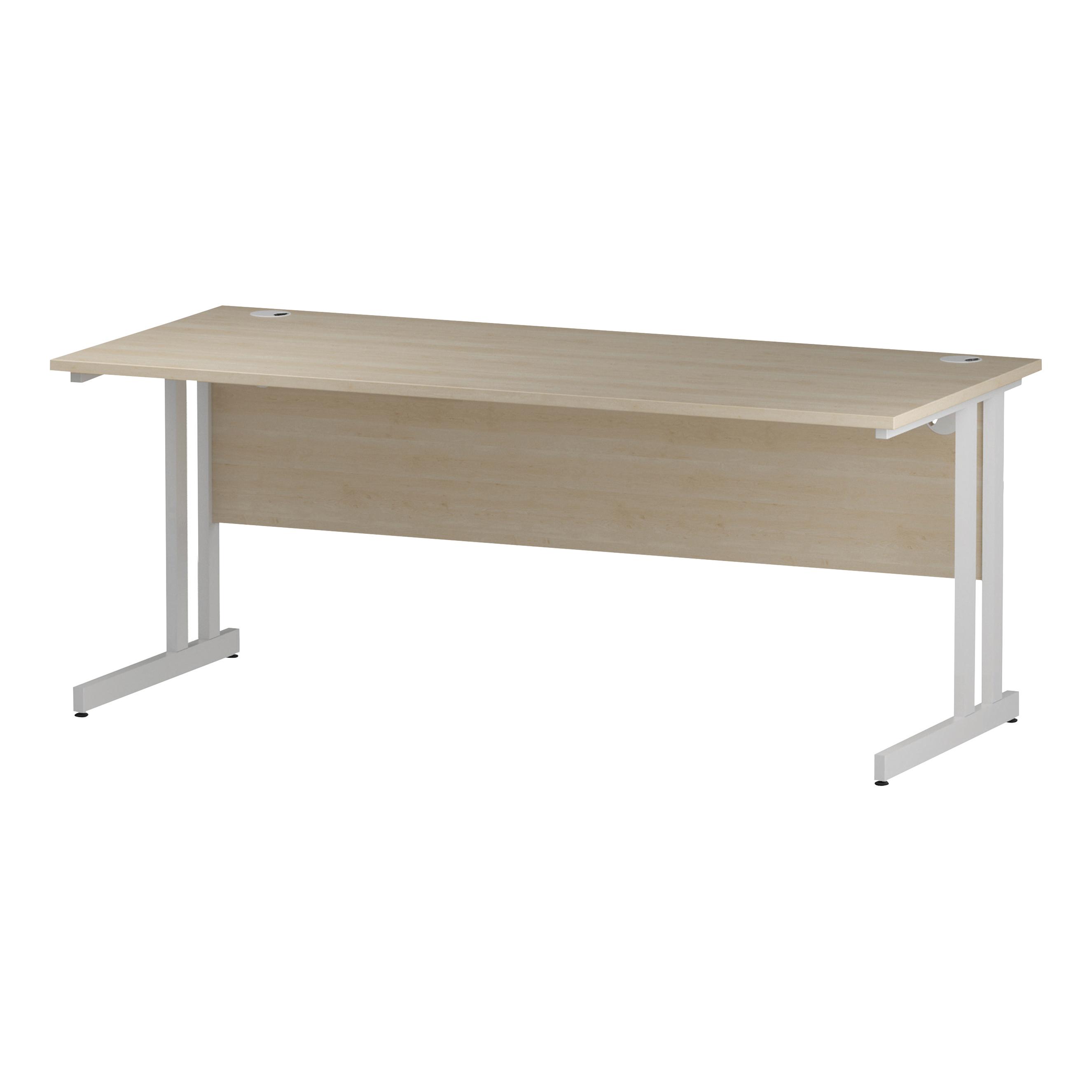 Trexus Rectangular Slim Desk White Cantilever Leg 1800x600mm Maple Ref I002430