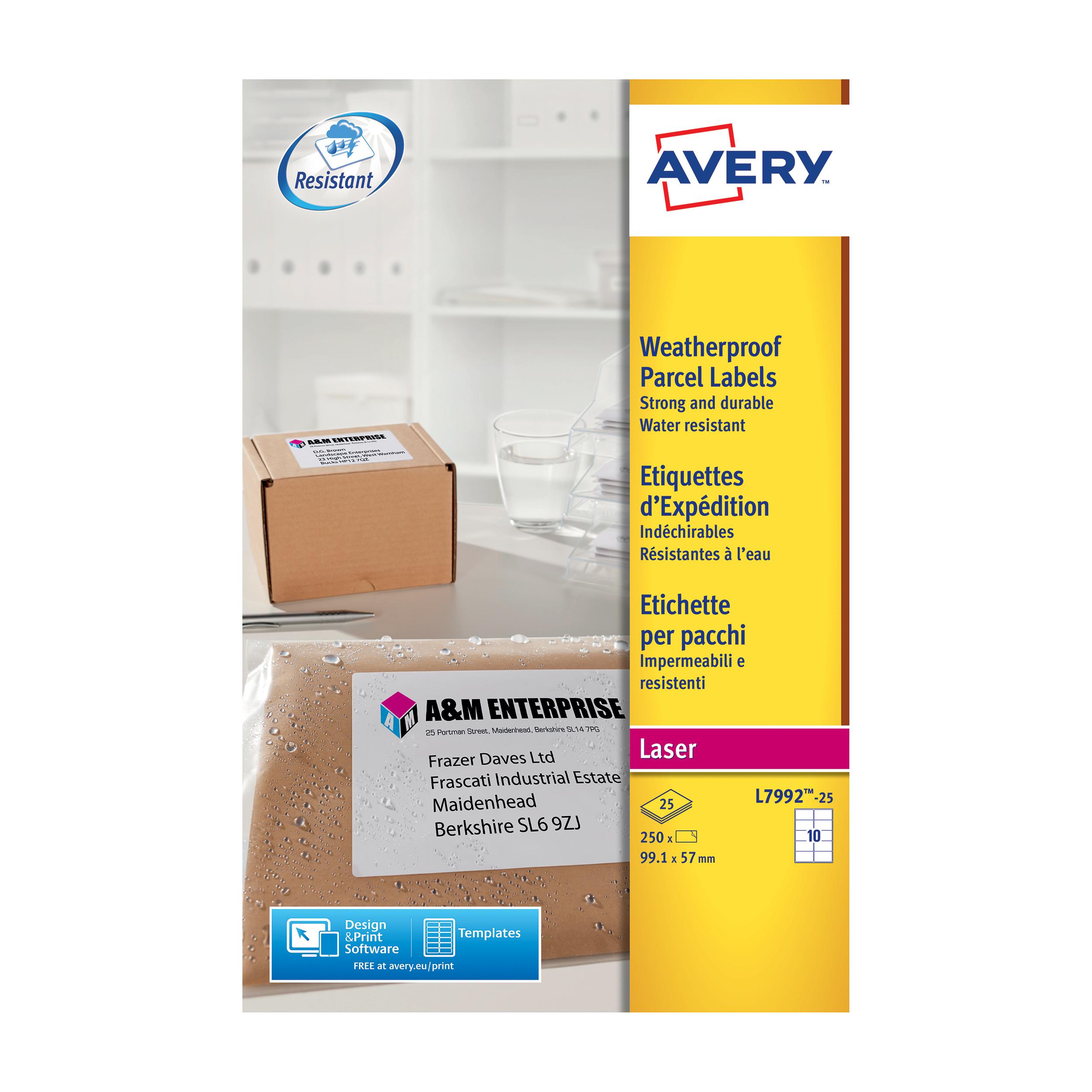 avery parcel labels weatherproof laser 10 per sheet 99 1x57mm white