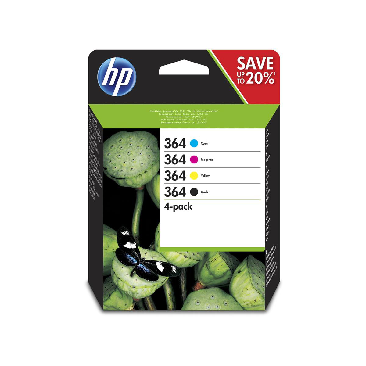 Hewlett Packard Hp No 364 Inkcartridges Pagelifeblack 250pp C M Y 300pp Tri Colour Ref N9j73ae Pack 4